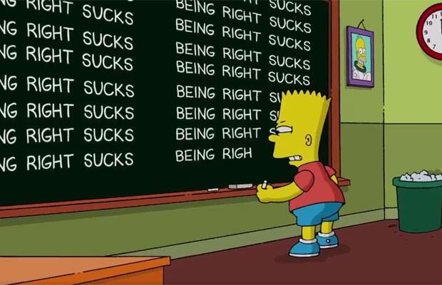 'Estar certo é uma droga', escreve Bart Simpson, 16 anos após a série The Simpsons prever Trump presidente dos EUA. (Foto: Reprodução/Twitter)