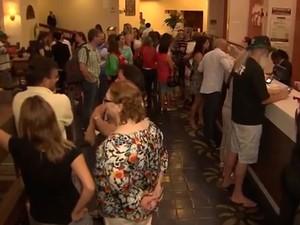 Hotel onde congresso seria realizado teve tumulto, Salvador, Bahia (Foto: Reprodução/ Tv Bahia)