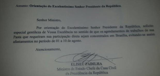 Ofício enviado pelo ministro Eliseu Padilha aos demais ministros
