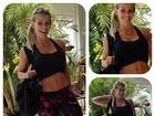 Karina Bacchi exibe barriga chapada em dia de malhação