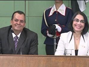 Posse de Marcia Rosa, prefeita reeleita de Cubatão, SP (Foto: Reprodução/TV Tribuna)