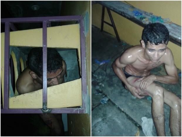 Homem ficou preso em grades de proteção de ar-condicionado ao tentar invadir casa, em Manaus (Foto: Divulgação/PM-AM)