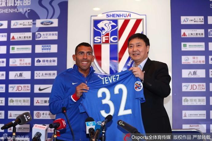 Tevez, Shanghai Shenhua (Foto: Reprodução / sina.com)