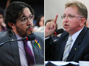 O deputado Jean Wyllys (PSOL-RJ) e o deputado Jo&#227;o Campos (PSDB-GO), durante audi&#234;ncia sobre o projeto que permite 'cura gay' (Foto: Alexandra Martins/Ag&#234;ncia C&#226;mara)