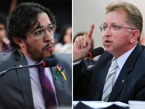 O deputado Jean Wyllys (PSOL-RJ) e o deputado João Campos (PSDB-GO), durante audiência sobre o projeto que permite 'cura gay' (Foto: Alexandra Martins/Agência Câmara)