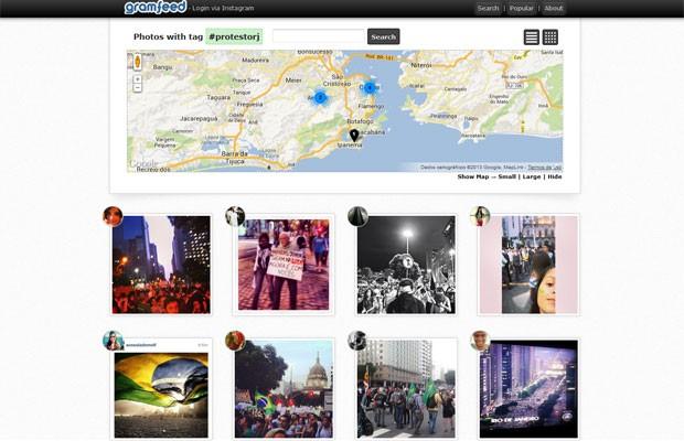Na ferramenta Gramfeed, imagens de protestos são agregadas por meio das hashtags #vemprarua e #protestorj. (Foto: Reprodução)