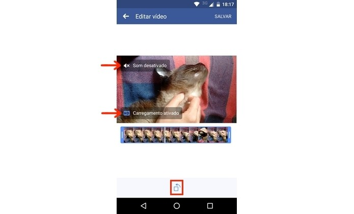 Vídeo sendo editado no aplicativo para Android do Facebook (Foto: Reprodução/Raquel Freire)