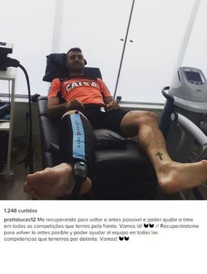 Lucas Pratto posta foto durante tratamento na Cidade do Galo (Foto: Reprodução /Instagram)
