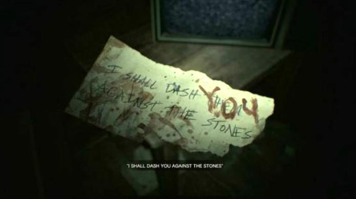 Pedaço de papel aparece alterado na sua frente ao final da fita VHS na demo de Resident Evil 7 (Foto: Reprodução/Games Radar)