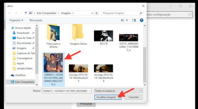Definindo uma nova foto para uma conta do Windows 10 (Foto: Reprodução/Marvin Costa)