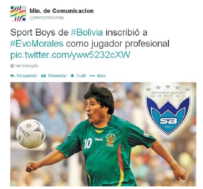 Evo Morales Sport Boys (Foto: Reprodução/Twitter)