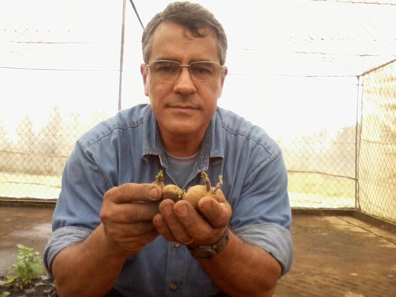 Nova tecnologia para o cultivo da batata é resultado de 30 anos de pesquisa do cientista José Alberto Caram de Souza Dias (Foto: Giliardy Freitas / TV TEM)