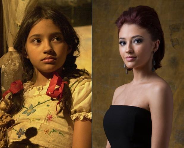 Carolina Oliveira com 11 anos e atualmente aos 21 (Foto: TV Globo / Gianne Carvalho e TV Globo / Rentato Rocha Miranda)