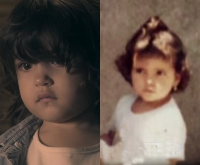 A pequena Alana e Vanessa Giácomo ainda criança (Foto: Vídeo Show / Gshow)