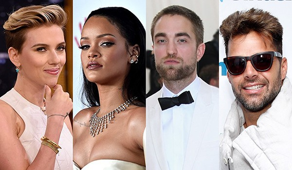 Scarlett Johansson, Rihanna, Robert Pattinson e Ricky Martin (Foto: Getty Images)