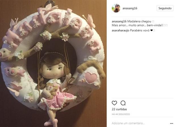 Ana Sang, mãe de Bruno Gissoni, celebra chegada de Madalena (Foto: Reprodução/Instagram)