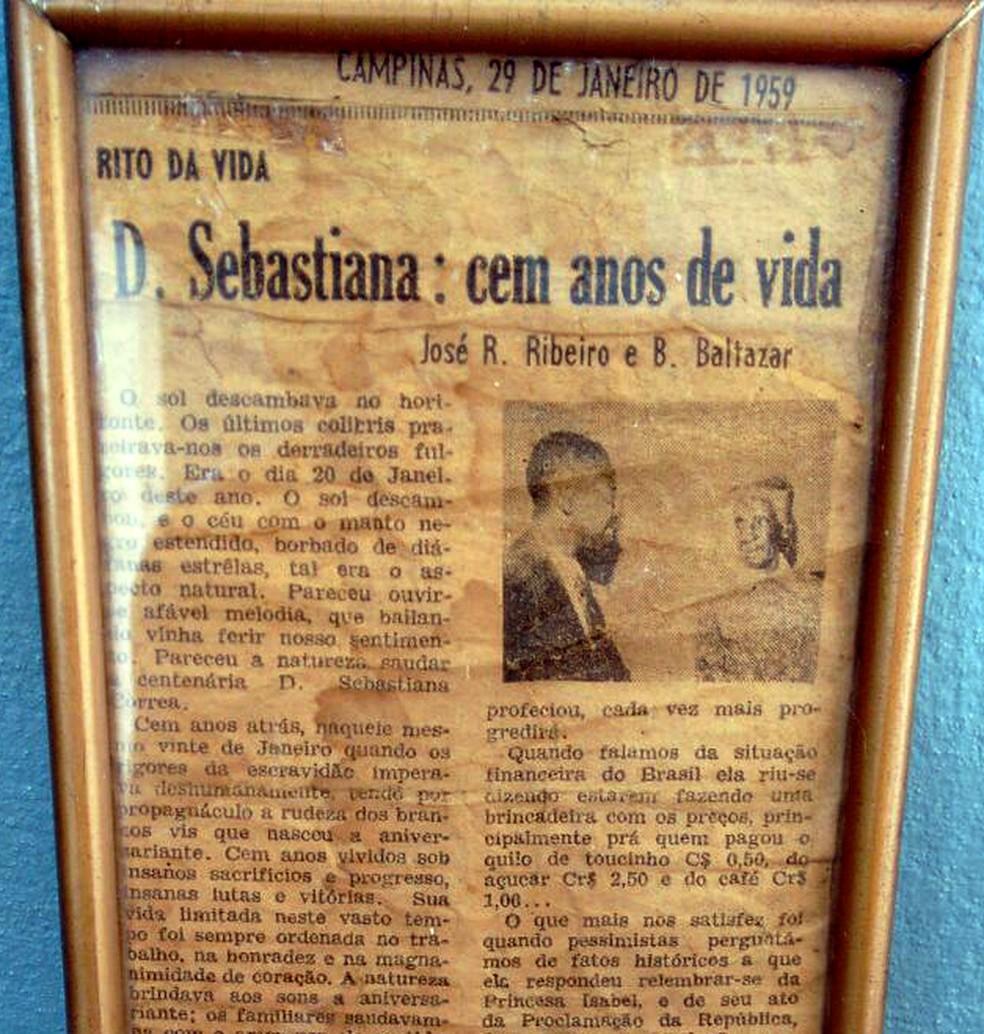 Em 1959, Correio Popular, de Campinas, contou a história da tataravó de Mariana, Sebastiana (Foto: Arquivo pessoal)