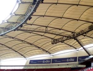 Membrana da cobertura do estádio de Stuttgart, na Alemanha   (Foto: Fernando Balvedi / Arquivo pessoal)