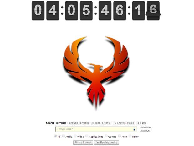 Página inicial do Pirate Bay mostra cronômetro e imagem de fênix (Foto: Reprodução/Pirate Bay)