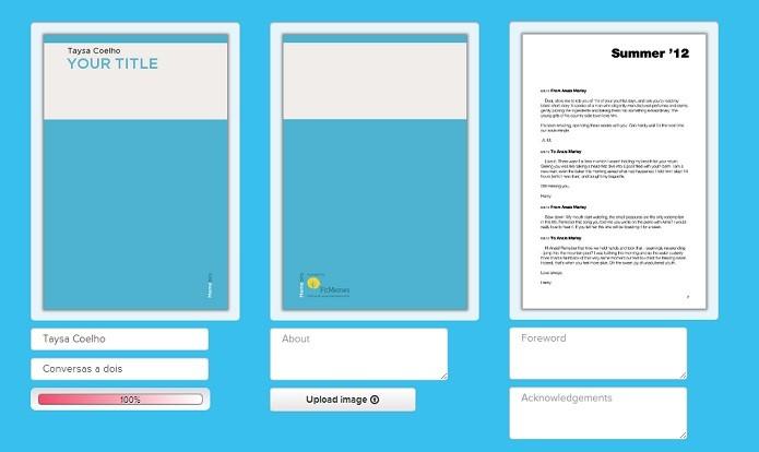 É possível editar a imagem e as informações de capa e contracapa (Reprodução/Taysa Coelho)