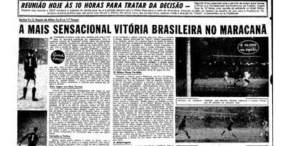 jornal o globo, santos, pelé, maracanã, 1963 (Foto: Reprodução)