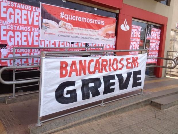 Mais da metade das agências do estado aderiram a paralisação (Foto: Ana Kézia Gomes/G1)