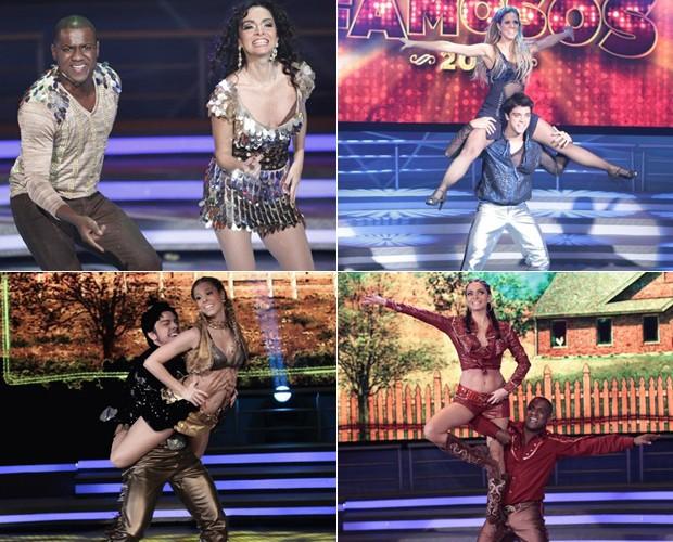 Os finalistas na primeira apresentação no baladão (acima) e na última dança antes da 1ª etapa da final, o sertanejo (abaixo) (Foto: Domingão do Faustão / TV Globo)