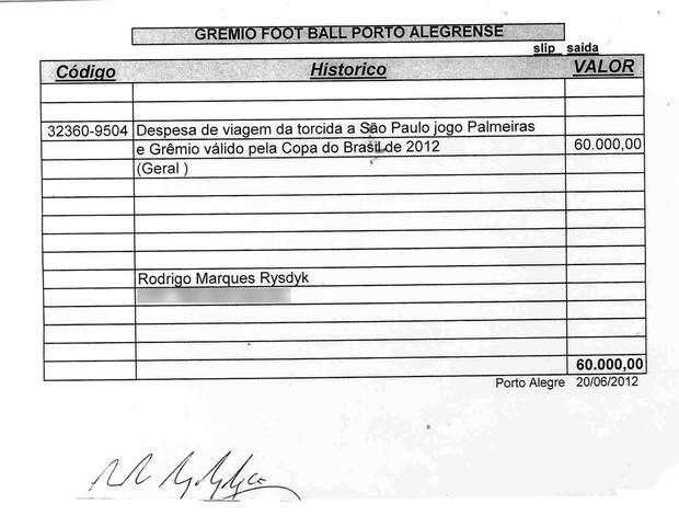 Documento comprova repasse de dinheiro do Grêmio à Geral (Foto: Agência RBS)