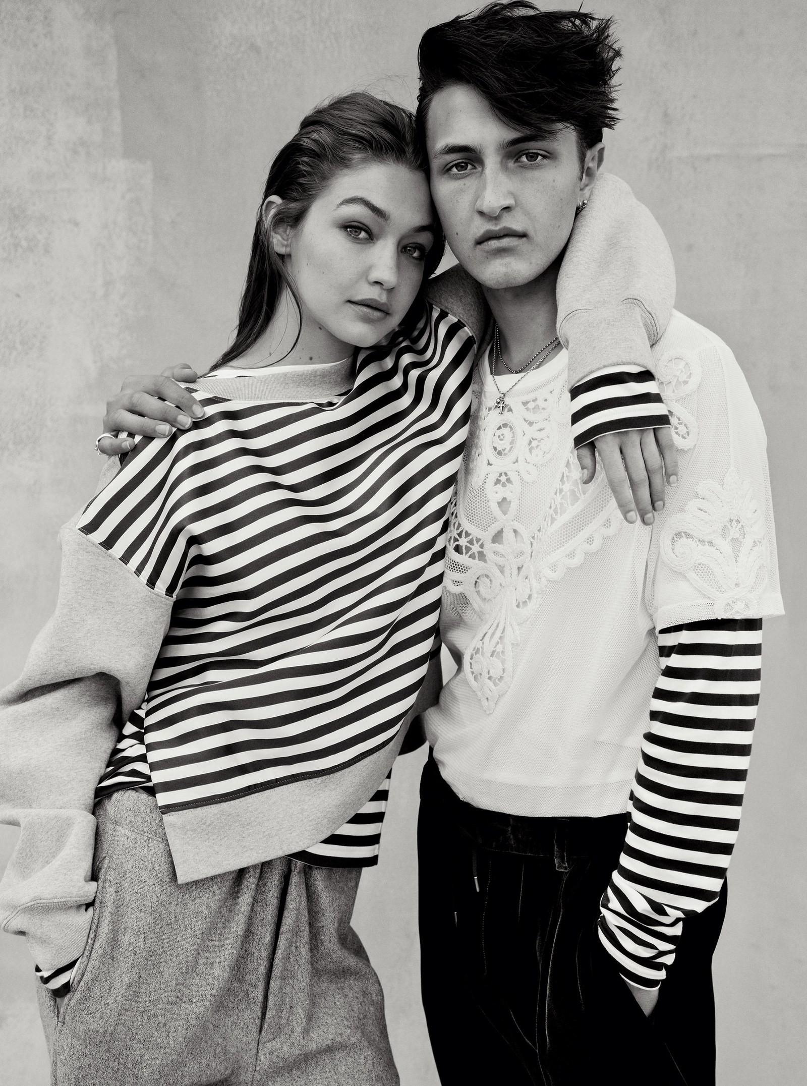 Gigi Hadid e o irmão na Vogue América de agosto (Foto: Reprodução/ Vogue US )