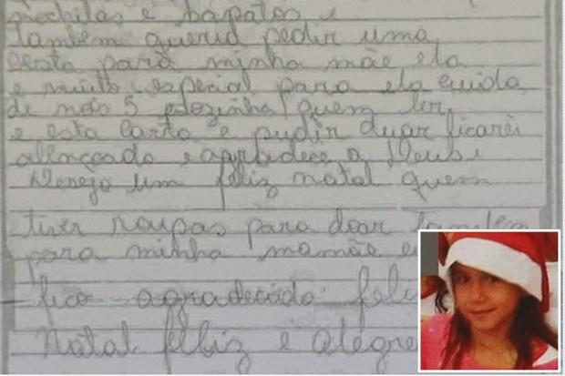 Menina Iasmin escreveu carta para Papai Noel antes de ser morta, em Catalão - Goiás (Foto: Reprodução/TV Anhanguera)
