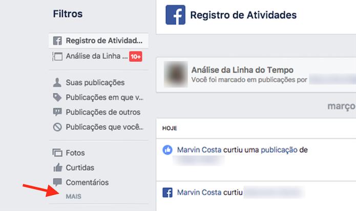 Ação para apresentar o registro de localização do Facebook (Foto: Reprodução: Marvin Costa)