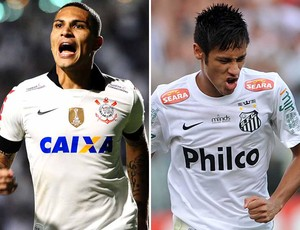 Montagem Guerrero Neymar Corinthians x Santos (Foto: Editoria de Arte)