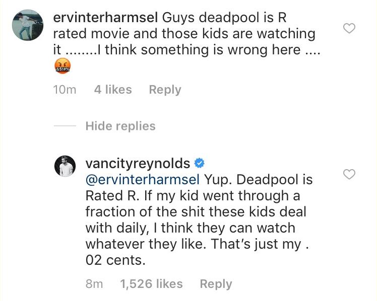 O questionamento feito por um fã em relação à presença de crianças no set de Deadpool 2 e a resposta de Ryan Reynolds (Foto: Instagram)