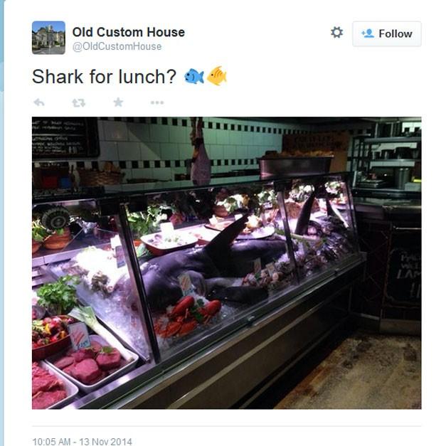 Restaurante no Reino Unido serve tubarão inteiro (Foto: Reprodução/Twitter/Old Custom House)