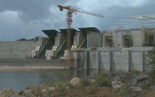 Barragem da hidrelétrica de Ferreira Gomes. (Foto: Reprodução/TV Amapá)
