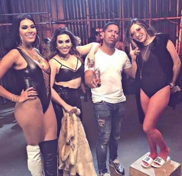 MC Pocahontas, Dani Russo e Naiara Azevedo nos bastidores do clipe Oh, Quem Voltou (Foto: Reprodução/Instagram)