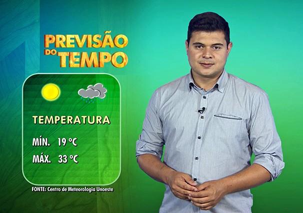 Tiago Rodrigues apresenta o quadro do tempo no Fronteira do Brasil (Foto: Reprodução/TV Fronteira)