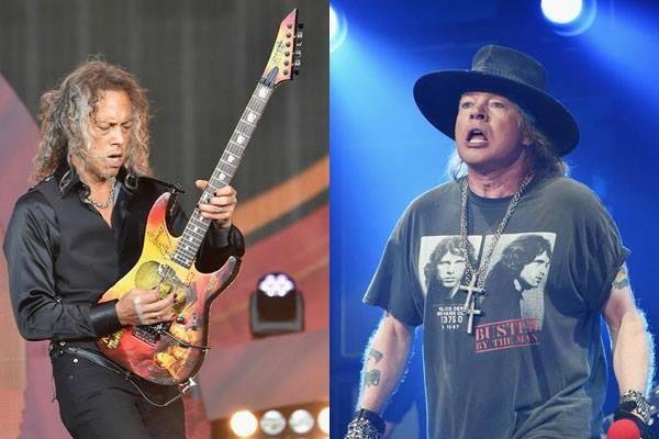 Os músicos Kirk Hammett e Axl Rose (Foto: Getty Images)