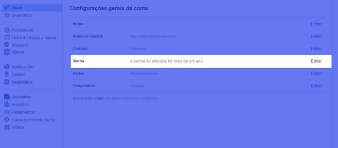 Tela de configurações gerais do Facebook (Foto: Reprodução/Helito Bijora) (Foto: Tela de configurações gerais do Facebook (Foto: Reprodução/Helito Bijora))