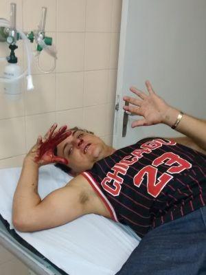 Jovem foi encaminhado para o Pronto-Socorro após agressão  (Foto: Arquivo pessoal/ Diego Adelino Siqueira )