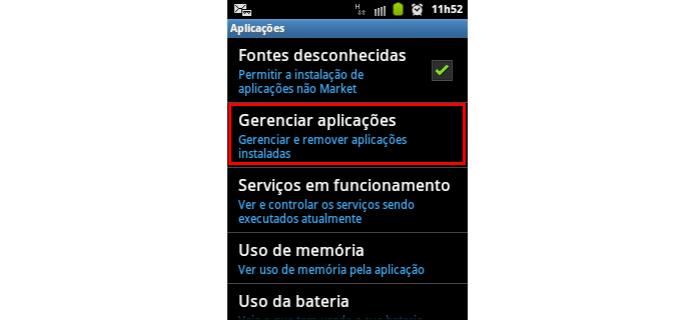 Escolha 'Gerenciar aplicações' para prosseguir (Foto: Reprodução/Paulo Alves) (Foto: Escolha 'Gerenciar aplicações' para prosseguir (Foto: Reprodução/Paulo Alves))