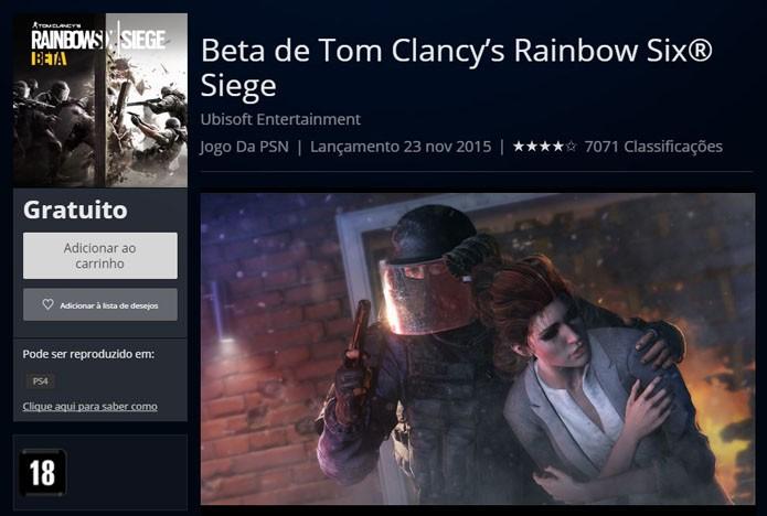 Tela do Open Beta na PlayStation Store (Foto: Reprodução/André Mello)