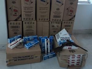 Cigarros Apreendidos em Piumhi (Foto: Polícia Militar/Divulgação)