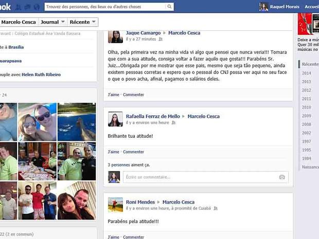 Reprodução de página em rede social elogiando atitude de juiz que ironizou demora do CNJ em aprovar volta dele ao trabalho (Foto: Facebook/Reprodução)