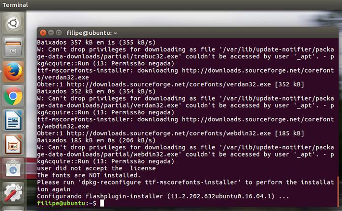O Ubuntu realizará todas as operações necessárias para baixar e instalar o plugin (Foto: Reprodução/Filipe Garrett) (Foto: O Ubuntu realizará todas as operações necessárias para baixar e instalar o plugin (Foto: Reprodução/Filipe Garrett))