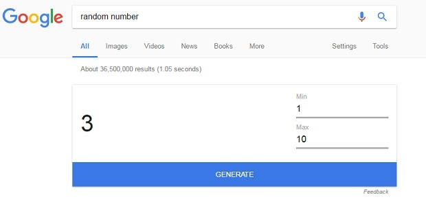 Google random number (Foto: Reprodução)