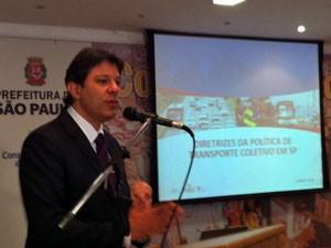 Haddad fala em reunião do Conselho da Cidade (Foto: Tatiana Santiago/G1)