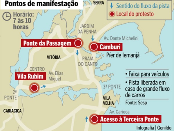 Mapa das manifestações (Foto: A Gazeta)