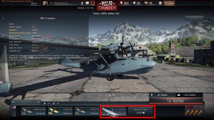 """Substitua a nova aeronave por alguma que esteja em sua reserva ou clique em """"Recruit Crew"""" e adicione um novo espaço em seu hangar (Foto: Reprodução/Daniel Ribeiro)"""