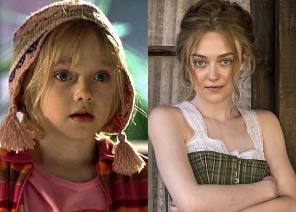 Dakota Fanning em 'Uma Lição de Amor' (2001) e em 'Brimstone' (2016) (Foto: Divulgação)